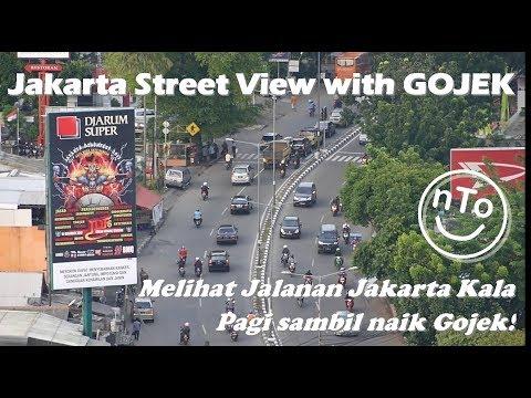 Jakarta street view with Gojek from Pramuka to Kuningan
