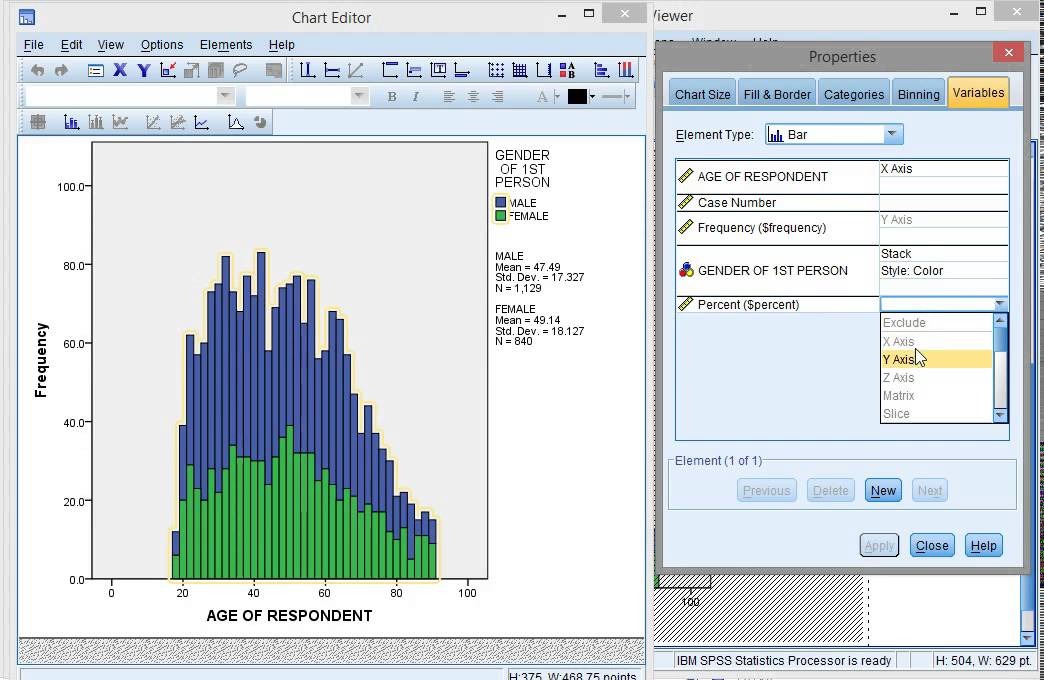 spss  stacked histogram