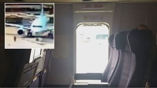Passengers Shocked When Woman Jumps Out of Plane Taxiing