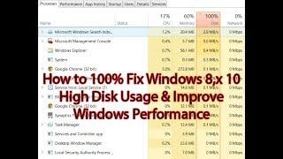 How to 100% Fix Windows 8,x 10 High Disk Usage & Improve Windows Performance