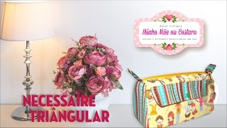 Necessaire Triangular com bolso para Makes e Esmaltes