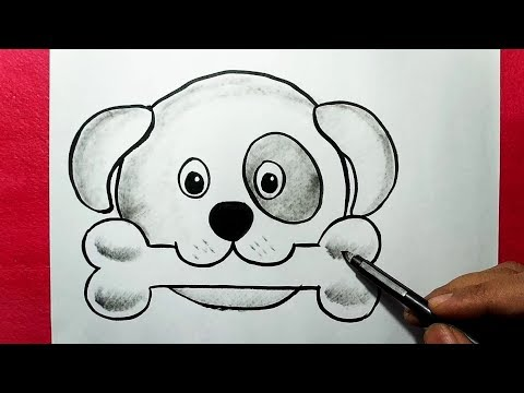 How To Draw An Easy Dog Face Simple Dog Drawing With Bone Yzarts Youtube