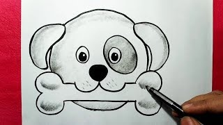 dog face drawing cartoon bone simple draw easy drawings paintingvalley