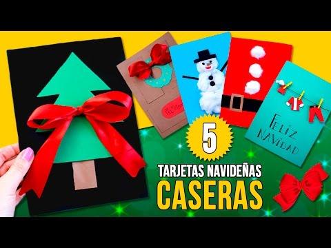 5 Tarjetas De Navidad Caseras Fáciles Para Niños Manualidades Navideñas Fáciles