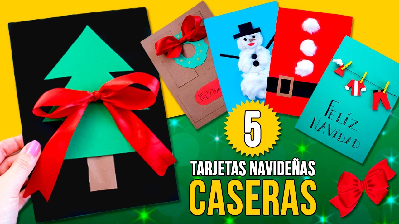 5 tarjetas de navidad caseras f ciles para ni os manualidades navide as f ciles youtube - Manualidades para navidades faciles ...