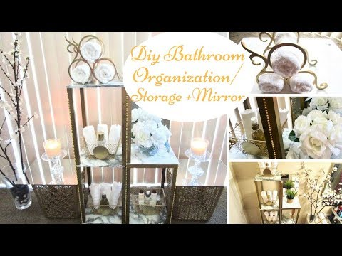 Diy Mirror with Marble and Gold Bathroom Wall Hanging Organization Hack *Upcycle*