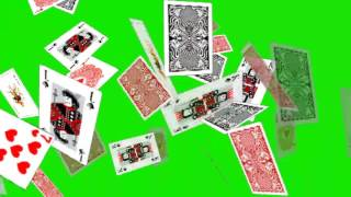 Cards Flying Green Screen