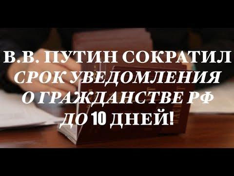 В.В. Путин сократил срок уведомления о гражданстве РФ.  ФМС.  миграционный юрист