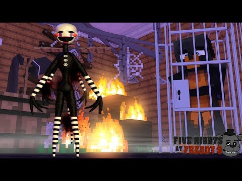Minecraft FIVE NIGHTS AT FREDDY'S - DONUT IS CAPTURED BY THE PUPPET MASTER AND TRIES TO ESCAPE!!