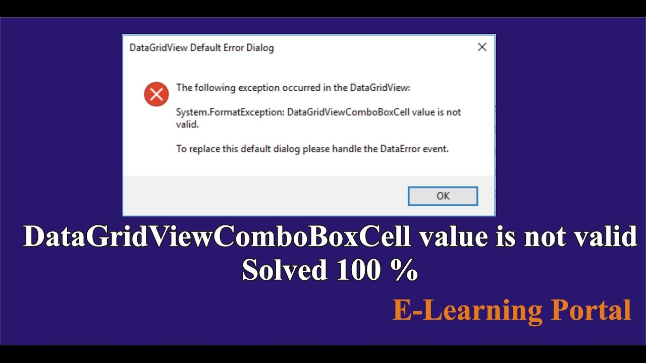 datagridview combobox cell value is not valid C# || Solved 100 %