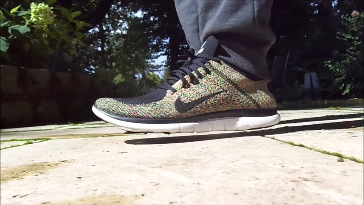 quality design 42a00 5ef60 Nike Free Flyknit 4.0 Multicolour  Black  White HD Details, Review and On- feet Look - YouTube