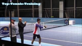 Novak Djokovic Warm Up 2012 (Using Bands, Dynamic Stretching)