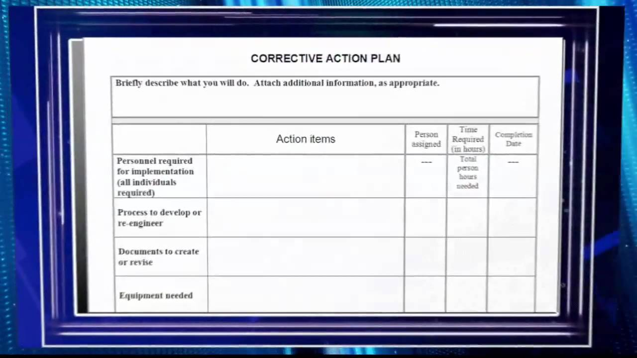 Creating a Corrective Action Plan Video Preview YouTube – Corrective Action Plan
