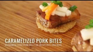 Caramelized Pork on Rice Crackers