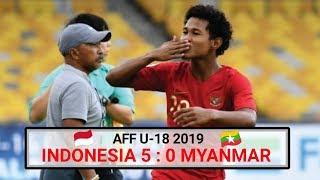 Indonesia vs Myanmar (5-0) | Highlight AFF U-18 2019