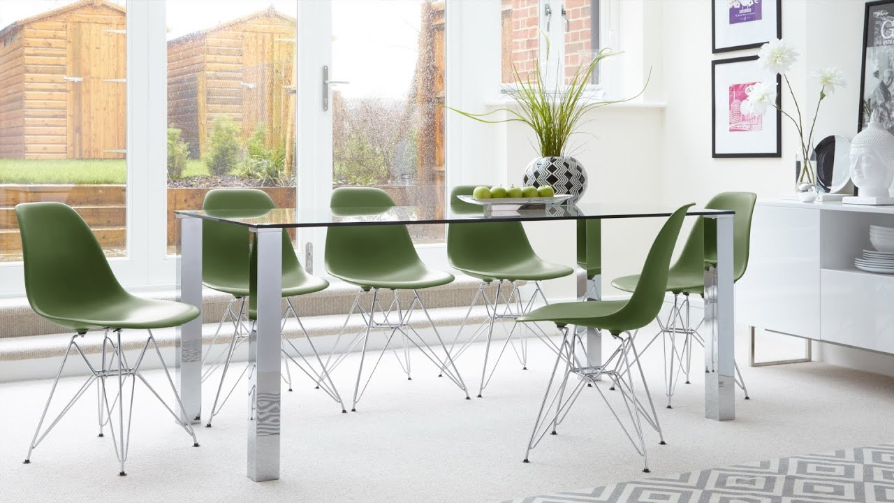 Contemporary Glass 6 Seater Dining Table And Eames Dining Chairs With Metal  Legs   YouTube