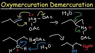 oxymercuration demercuration mechanism of alkenes alkoxymercuration reaction organic chemistry
