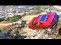 GTA 5 Driving Real Cars Off Mt Chiliad - (crash Testing Real Car Mods In Gta V)