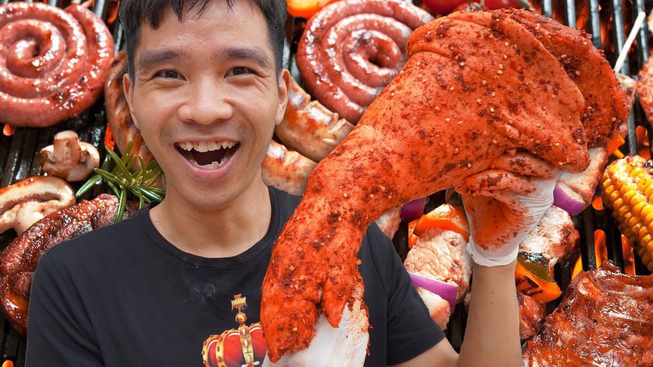 Giò Heo Quay Muối Ớt   Grilled Pork Rolls   PHD Troll