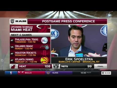 Erik Spoelstra -- Miami Heat at Brooklyn Nets 02/10/2017