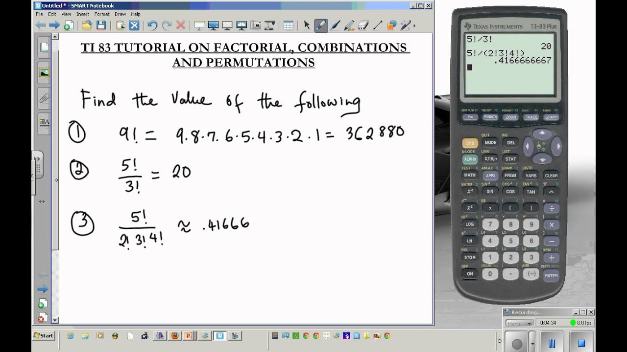TI 83 tutorial combination permutation factorial