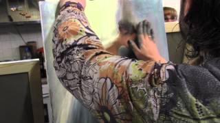 Балерина в воздушном платье, художник Сахаров, уроки живописи