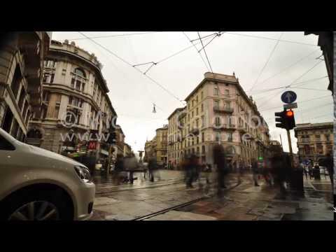 0028 - time lapse -  People at zebra crossing in Milan