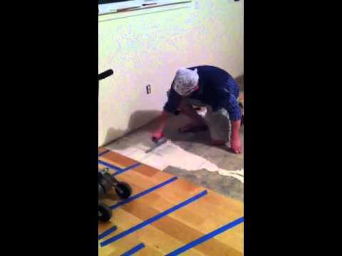 Applying glue to concrete slab for engineered wood floor