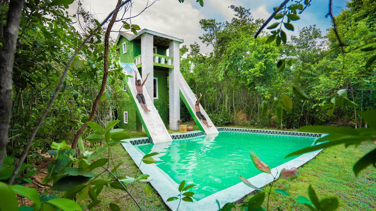 Build Modern Contemporary Mud Villa and Design Water Slide to Millionaire Swimming Pool