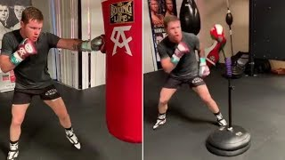 CANELO BACK IN THE GYM AFTER A MONTH & A HALF OFF, LOOKING STRONG AS HE EXPLODES ON HEAVYBAG