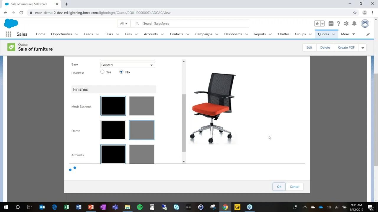 eCon CPQ demo Office Furniture for Salesforce CPQ