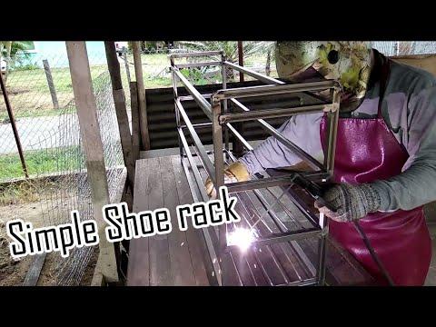 How to make simple metal shoe rack/cara membuat rak kasut besi simple