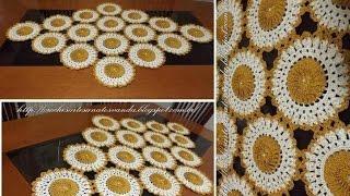 Motivo para caminho de mesa em crochê c/ pérolas Parte 1/2