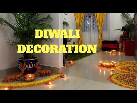 Diwali Home Decor-Diya and flower rangoli decor of my house on diwali