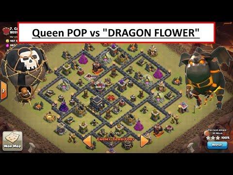 Queen POP LaLoon vs POPULAR DRAGON FLOWER BASE. TH9 3 STAR Clash of Clans war