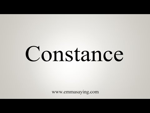 How To Say Constance