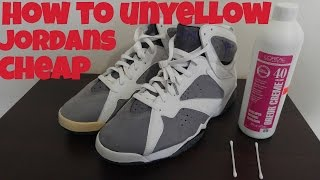 Removing yellowing from jordan 7 toe cap and midsoles cheap and easy using 40 volume ( un yellow )