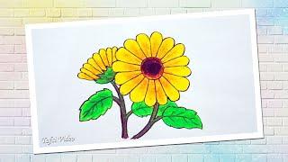 Cara Menggambar Bunga Matahari Dengan Oil Pastels Gambar Bunga Yang Gampang Youtube