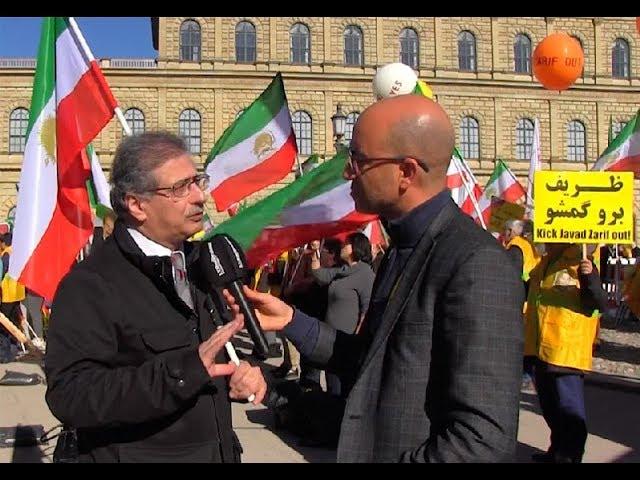 """Des  iraniens crient à Munich : """"Régime des Mollahs dégage !"""""""