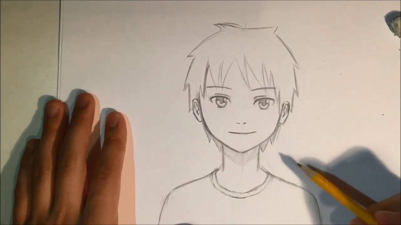 draw anime male face slow