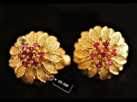 LATEST GOLD TOPS EARRINGS FOR WOMEN, BIG STUD EARRING DESIGNS, GOLD JEWELLERY NEAR ME, FASHION