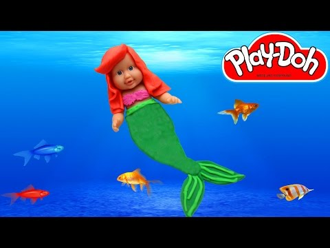 Play Doh Baby Doll Princess Ariel - Learn How to Make Costum Mermaid