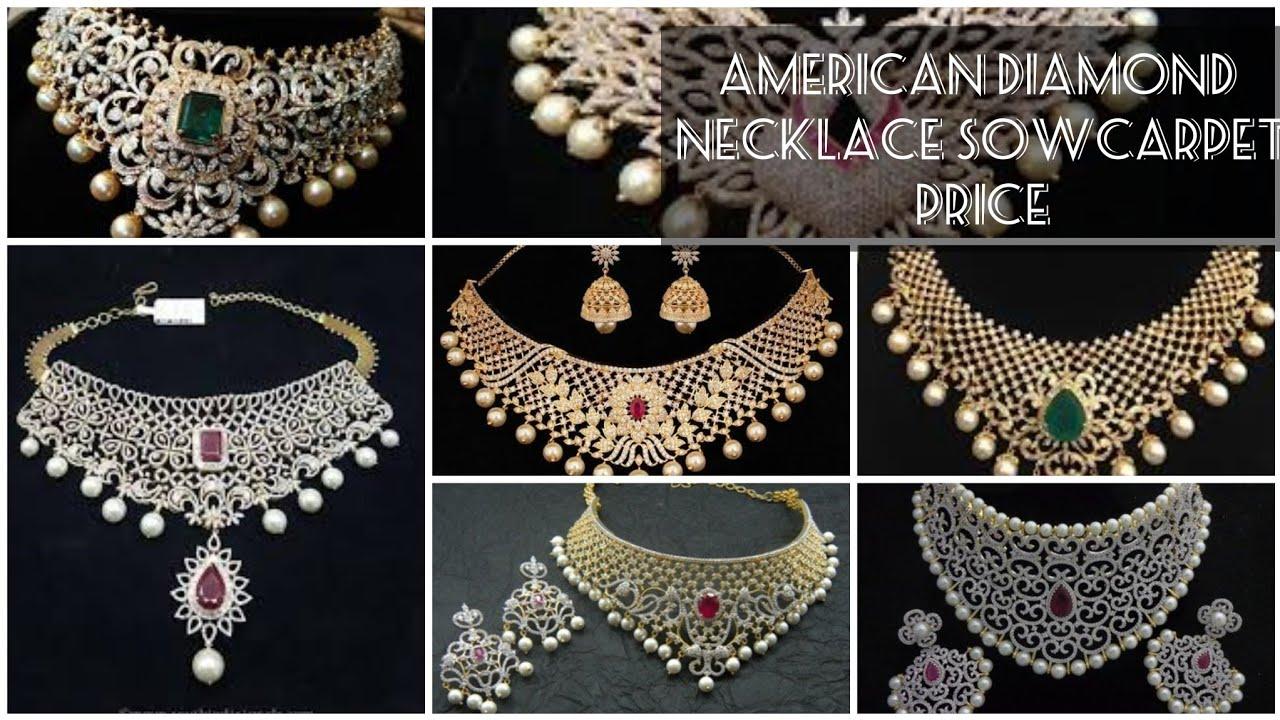 Sowcarpet American Diamond Necklace Set Price Sowcarpet Jewellery Price Youtube
