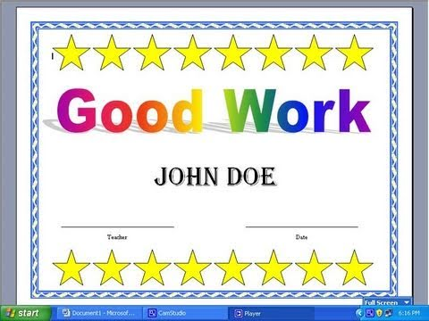 Making A Certificate With Word 2003 - Youtube