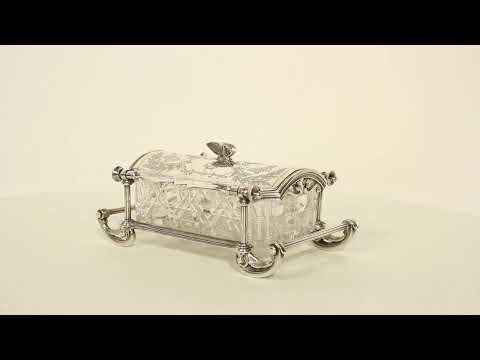 Antique Elkington & Co Silver Plated & Cut Glass Butter Dish