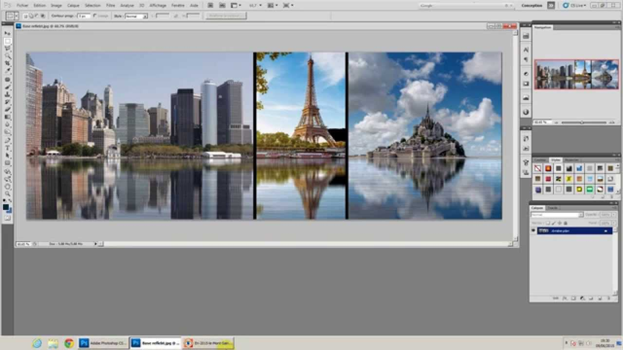 Realiser un effet miroir sous photoshop youtube for Effet miroir photo