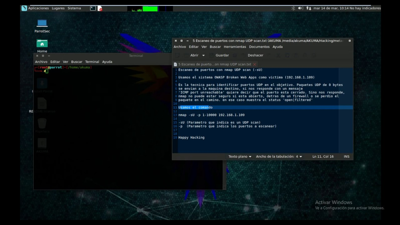 Escaneo de puertos con nmap UDP scan (-sU) - Parrot Security OS