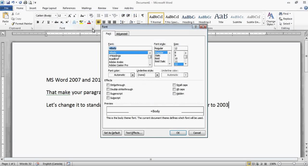 Word 2007 2010 Make Your Text Default Spacing And Font Change Calibri To Times New Roman