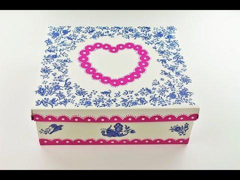 Decoupage shoes box – Decoupage cardboard box – Decoupage Tutorial – Decoupage for beginners
