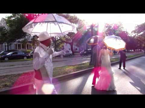 The New Wave Brass Band leads wedding second line parade in New Orleans